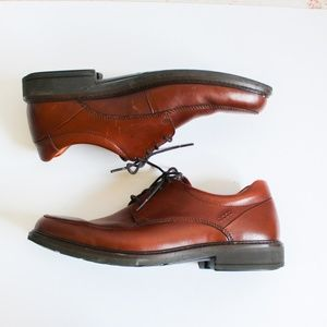 Men's Ecco Brown Leather Dress Lace Up Dress Shoes